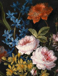 Antoine Monnoyer  A Floral Still Life with Roses and Anemones, detail  18th century