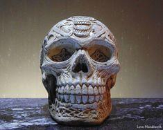 Cement Celtic Skull by LoveHandyWork on Etsy Cement, Concrete, Skulls, Celtic, Christmas Gifts, Etsy Shop, Statue, Garden, Handmade