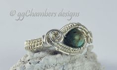 Sterling Silver Woven Wire and Royston Boulder Turquoise Ring