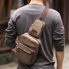 Wonderful Men's Brown Canvas Messenger Shoulder Hiking Fanny Pack Bag Backpack | eBay