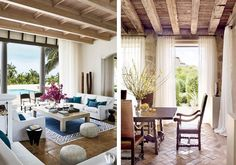 In these neutral Mediterranean style spaces, coffered wooden ceilings, sheer white curtains, and polished terracotta tiles exude modern vintage charm. Cute Curtains, White Sheer Curtains, Green Curtains, Cottage Curtains, Rustic Curtains, Bedroom Curtains, Modern Mediterranean Homes, Decorative Curtain Rods, Custom Made Curtains