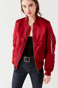 Shop Alpha Industries Bomber Jacket at Urban Outfitters today. We carry all the latest styles, colors and brands for you to choose from right here. Nylon Bomber Jacket, Leather Jacket, Alpha Industries Ma 1, Jacket Images, Satin, Windbreaker Jacket, Jacket Style, Wholesale Clothing, Lady In Red