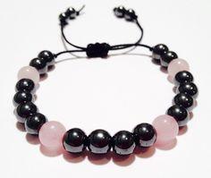 Hematite and Rose Quartz Gemstone Bracelet - Gemstone Bracelet - Birthstone Bracelet - Macrame Bracelet - Mens and Womens Bracelet -Handmade by OurUniverseShop on Etsy