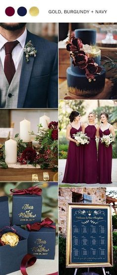 wedding themes Fall Wedding Decorations Navy Blue Burgundy And Gold Fall Wedding Color Ideas Wedding Ideas Burgundy Wedding Colors, Rustic Wedding Colors, Romantic Wedding Flowers, Burgundy And Gold, Fall Wedding Colors, Wedding Color Themes, Burgundy Color, Navy Gold, Burgandy And Gold Wedding