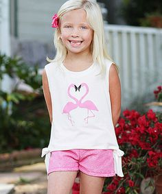 Look what I found on #zulily! White Flamingos Tee & Pink Shorts - Girls by Freckles + Kitty #zulilyfinds