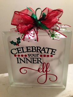 Glass Block  Celebrate Your Inner Elf by PBCreativeDesigns on Etsy, $25.00