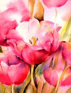 Pink Tulip Watercolor Print - Fine Art Giclee Print - from watercolor painting by ConnieTownsArt - matted to11x14
