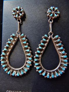 Native American Zuni Petit Point Turquoise Tear Drop Earrings by Tricia Leekity $141.75