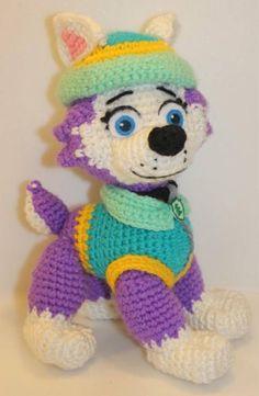 Paw Patrol Marshal Chase Skye Rubble Zuma Everest and Crochet Animals, Crochet Toys, Crochet Baby, Free Crochet, Easy Crochet Patterns, Amigurumi Patterns, Dog Pattern, Pet Toys, Crochet Projects