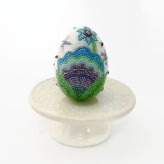Easter Egg Floral Beaded One Of A Kind Spring by MeredithDada