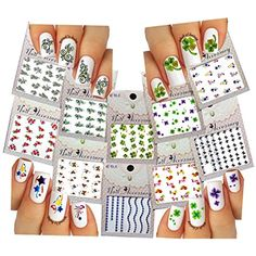 Nail Art Water Slide Tattoos ♥ Flowers / Butterflies / Clover ♥ 10 - Pack /RTUNVIII/ ** Click image to review more details. (This is an affiliate link and I receive a commission for the sales)