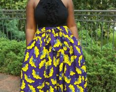 Yellow Dashiki Maxi Skirt African Clothing by MsAlabaAfricanShop