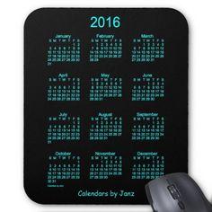 Neon Blue 2016 Calendar by Janz Mouse Pad