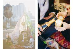 BROOKLYN ROOFTOP ENGAGEMENT – Glitter + Rye / fort teepee made from vintage sheets