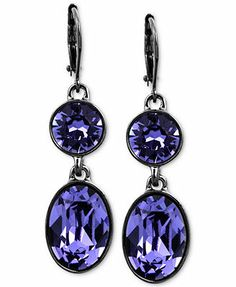 Givenchy Earrings, Hematite-Tone Swarovski Tanzanite Crystal Double Drop Earrings