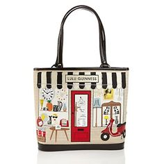 """Lulu Guinness Embroidered Vintage Shop """"Edith"""" Tote Bag at HSN.com."""