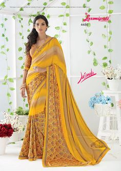 Impress all with your amazing traditional look by draping this saree that earn you loads of plaudits from onlookers. Laxmipati Sarees, Saree Shopping, Traditional Looks, Printed Sarees, Draping, Daily Wear, Bridal Collection, Kurti, Print Design