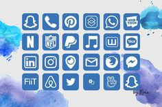 1500 iOS 14 Iphone App Icons Sea Watercolor Theme Blue Green | Etsy