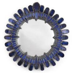 "Line Vautrin ""GERBERA"" MIRROR incised Line Vautrin talosel and mirrored glass 7 1/2 in. (19.1 cm) diameter circa 1960"