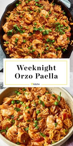 This orzo paella is the ideal weeknight dinner or meal. It comes together quickly, and is easy to make in only one pan. Chicken sausage joins forces with smoked paprika, sweet tomatoes, and lot Orzo Recipes, Seafood Recipes, Dinner Recipes, Cooking Recipes, Healthy Recipes, Sausage And Shrimp Recipes, Dinner Ideas, Cafe Recipes, Turkey Recipes