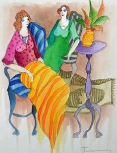 """""""Untitled Watercolor"""" by Itzchak Tarkay"""
