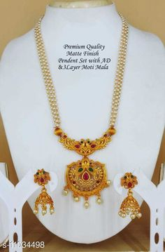 Jewellery Set Matte South Pendal  Base Metal: Brass Plating: Brass Plated Stone Type: Crystals Sizing: Adjustable Type: As Per Image Country of Origin: India Sizes Available: Free Size   Catalog Rating: ★4 (443)  Catalog Name: Feminine Fancy Jewellery Sets CatalogID_2047592 C77-SC1093 Code: 862-11034498-126