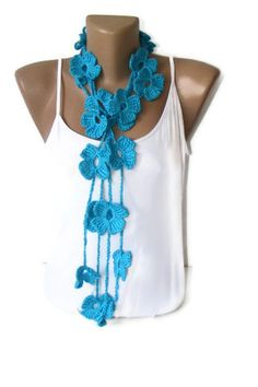 Hand crocheted New lariat scarvesblue scarfholiday by seno on Etsy, $22.00