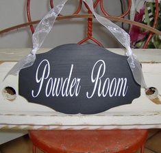 Powder Room Wood Vinyl Sign Elegant Designs Directional Bath | Etsy Gifts For Nan, Aunt Gifts, Sister Gifts, Gifts For Wife, Gifts For Friends, Powder Room Signs, Bathroom Accents, Wood Vinyl, Vinyl Signs