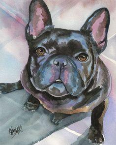 French Bulldog Art Print of Original Watercolor Painting - 8x10