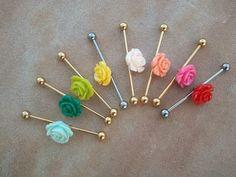 Items similar to Industrial Barbell Earring, Choose Your Color- Rose Industrial Barbell Piercing Surgical Steel Ear Jewelry- Azeeta Designs on Etsy Cute Industrial Piercing, Industrial Jewelry, Industrial Barbell, Industrial Bars, Barbell Piercing, Piercing Tattoo, Ear Jewelry, Body Jewelry, Jewlery