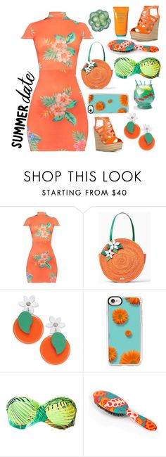 """Summer date: Orange dreams 💘"" by onelittleme ❤ liked on Polyvore featuring Kate Spade, Casetify, Lygia & Nanny, Rock & Ruddle, Shiseido, orange, dress and summerdatenight"