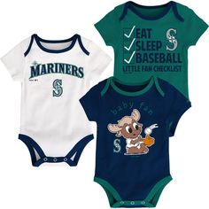 Newborn & Infant Seattle Mariners Navy/Aqua/White Play Ball Three-Pack Bodysuit Set