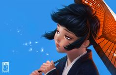 uzumaki hinata wearing kimono digital art