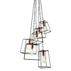 Zappa matt black & Copper 6 light pendant