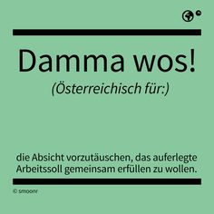 """Damma wos!"" - Österreichisch für die Absicht vortäusche, das auferlegte Arbeitssoll gemeinsam erfüllen zu wollen. Mind Thoughts, What Is Meant, Play Hard, Man Humor, True Stories, Austria, Work Hard, Haha, Lettering"