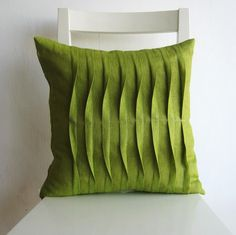 #Handmade pleated light green 16 x 16 cushion cover from Israel by pillow1. $21