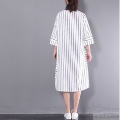 2017 stylish sundress vertical strips plus size shift dress white half sleeve cotton shirt dressesThis unique deisgn deserves the best quality texture. The fabric of this article is soft, comfortable and breathy. Striped Dress, White Dress, Cotton Shirt Dress, Jeans Leggings, Half Sleeves, Hijab Fashion, Kurti, November, Short Sleeve Dresses