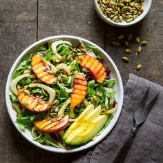 Grilled Peach Salad with greens, fennel, basil, toasted pumpkin seeds, and avocado // The Gantzery