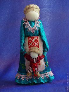 Купить Казачка с сыночком. Кукла-образ. - морская волна, народная кукла, народные традиции, хлопок
