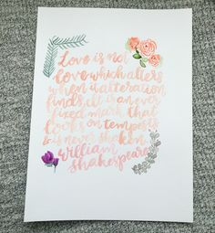 Shakespeare Love Quote • Watercolor Print