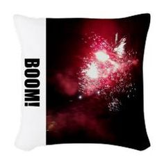 """""""Fireworks in the sky"""" go Boom! Original color photo of July Fourth fireworks on square, woven pillow. Light up your sofa or bed with holiday-themed pyrotechnics. Nice Independence Day decorating idea. Throw pillow retails for $27.59 at http://www.cafepress.com/pillowtalkpillowdesigncollection."""