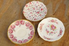 Vintage Shabby Chic Rose Print Saucers Royal by SycamoreVintage