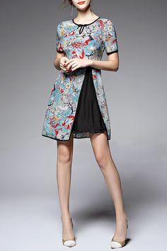 Print Short Sleeve Spliced Dress