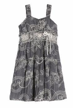 Isobella & Chloe Girls Heather Grey Embroidered Dress