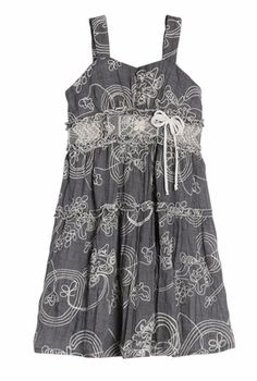 Isobella & Chloe Girls Heather Grey Embroidered Dress