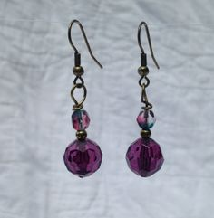 Purple and Crystal Earring by TripIntoLight on Etsy, $5.00
