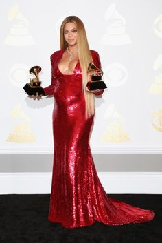 Beyonce turned on the sparkle with a red sequined gown from Peter Dundas