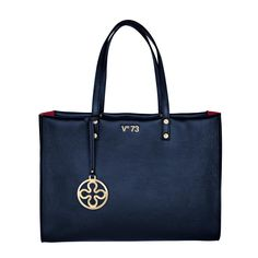 #V73 Venezia Navy Leather Bag whit zip closure , Charms shown in photo included, Metal feet at the base 39 x 28 x 12 Shop now: http://www.v73.it/en/venezia