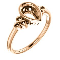 14kt Rose  8x5mm Pear Ring Mounting