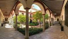 Patio principal del Hospital de los Venerables. Spain And Portugal, Seville, Pergola, Outdoor Structures, 17th Century, Columns, Hospitals, Baroque, Buildings
